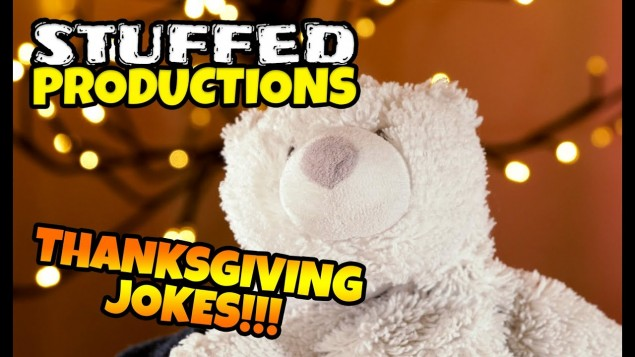 Plush Bear Tells Funny Thanksgiving Jokes! Growler's Thanksgiving Jokes 2019